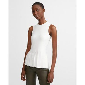 THEORY Pleated Peplum Top, Size M, NWT